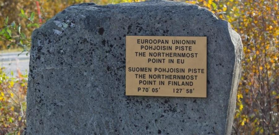 Landmark of the northernmost point of Finland
