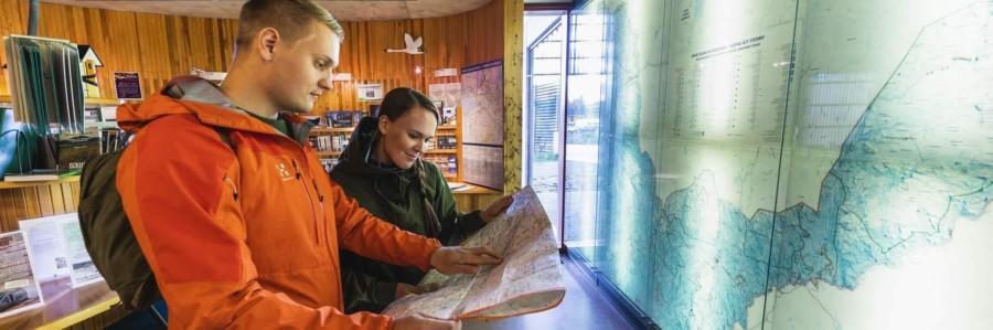 tourist and nature information at the service point in Siida, Inari